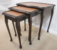 Dark Polished Nest of Three Coffee Tables with Beige/Tan Leather Tops - SOLD